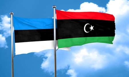 estonia: estonia flag with Libya flag, 3D rendering