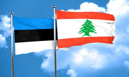estonia: estonia flag with Lebanon flag, 3D rendering