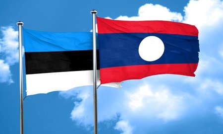 laos: estonia flag with Laos flag, 3D rendering