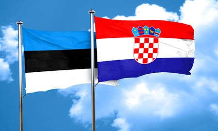 bandera de croacia: Bandera de Estonia con la bandera de Croacia, 3D Foto de archivo