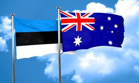 australia flag: estonia flag with Australia flag, 3D rendering Stock Photo
