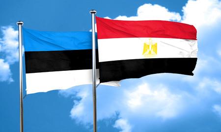 bandera egipto: Bandera de Estonia con la bandera de Egipto, 3D Foto de archivo