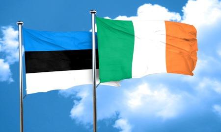 bandera de irlanda: Bandera de Estonia con la bandera de Irlanda, 3D Foto de archivo
