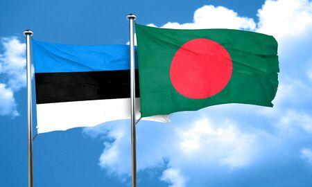 bangladesh: estonia flag with Bangladesh flag, 3D rendering