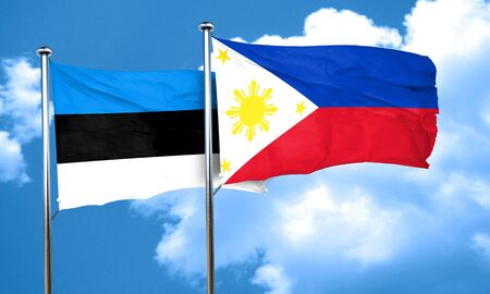 philippino: estonia flag with Philippines flag, 3D rendering Stock Photo