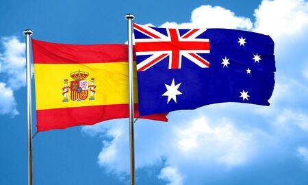 spanish flag: Spanish flag with Australia flag, 3D rendering Stock Photo