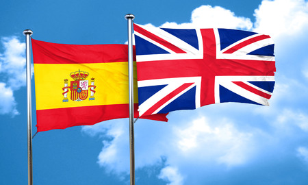 spanish flag: Spanish flag with Great Britain flag, 3D rendering