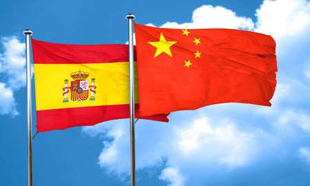 spanish flag: Spanish flag with China flag, 3D rendering