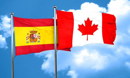 spanish flag: Spanish flag with Canada flag, 3D rendering