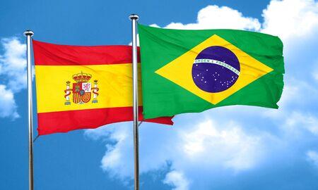 spanish flag: Spanish flag with Brazil flag, 3D rendering Stock Photo
