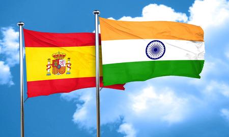 spanish flag: Spanish flag with India flag, 3D rendering