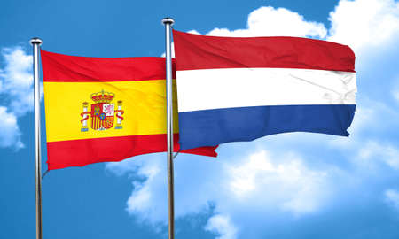spanish flag: Spanish flag with Netherlands flag, 3D rendering Stock Photo