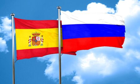 spanish flag: Spanish flag with Russia flag, 3D rendering