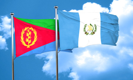 guatemalan: Eritrea flag with Guatemala flag, 3D rendering