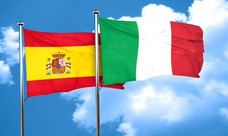 spanish flag: Spanish flag with Italy flag, 3D rendering
