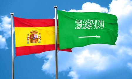 spanish flag: Spanish flag with Saudi Arabia flag, 3D rendering