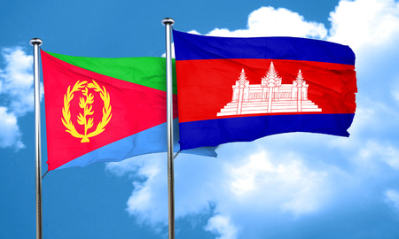 cambodian flag: Eritrea flag with Cambodia flag, 3D rendering Stock Photo