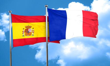 spanish flag: Spanish flag with France flag, 3D rendering Stock Photo