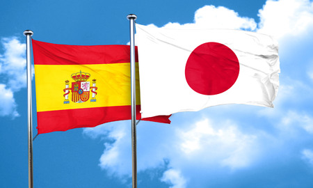 spanish flag: Spanish flag with Japan flag, 3D rendering Stock Photo