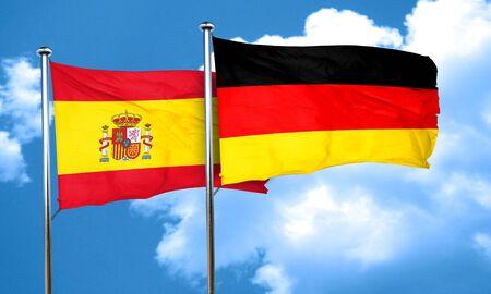spanish flag: Spanish flag with Germany flag, 3D rendering