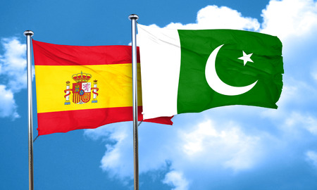 spanish flag: Spanish flag with Pakistan flag, 3D rendering