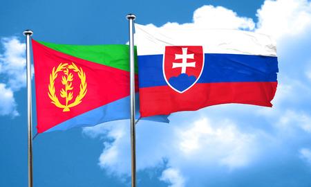 slovakia flag: Eritrea flag with Slovakia flag, 3D rendering