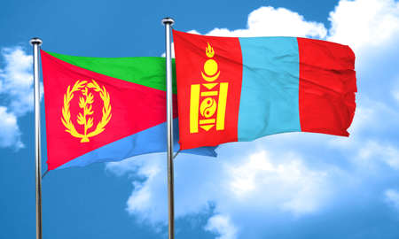 mongolia: Eritrea flag with Mongolia flag, 3D rendering Stock Photo