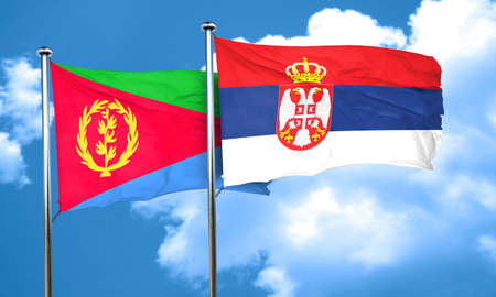 serbia flag: Eritrea flag with Serbia flag, 3D rendering Stock Photo