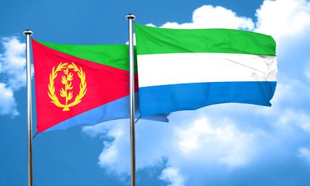 sierra: Eritrea flag with Sierra Leone flag, 3D rendering Stock Photo