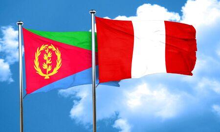 bandera peru: bandera de Eritrea con la bandera de Per�, 3D Foto de archivo