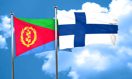 FINLAND flag: Eritrea flag with Finland flag, 3D rendering