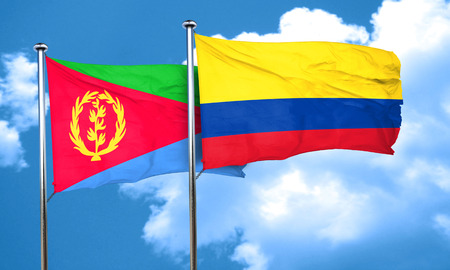 colombia flag: Eritrea flag with Colombia flag, 3D rendering