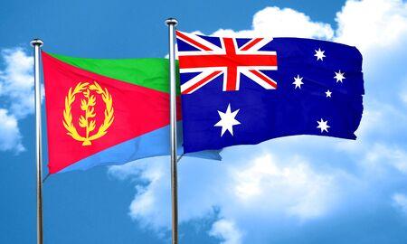 australia flag: Eritrea flag with Australia flag, 3D rendering