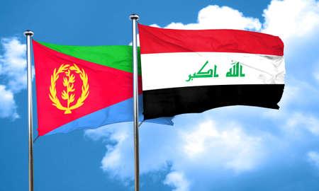 iraq flag: Eritrea flag with Iraq flag, 3D rendering