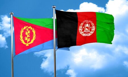 afghanistan: Eritrea flag with afghanistan flag, 3D rendering