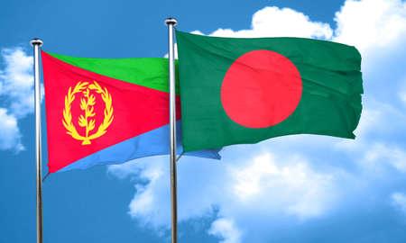 bangladesh: Eritrea flag with Bangladesh flag, 3D rendering Stock Photo