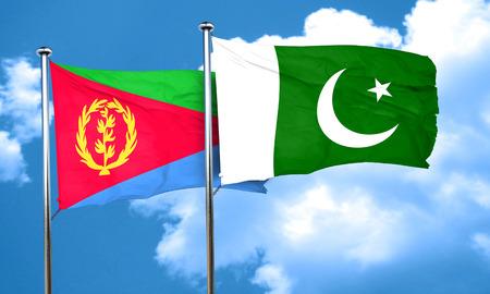 pakistan flag: Eritrea flag with Pakistan flag, 3D rendering Stock Photo