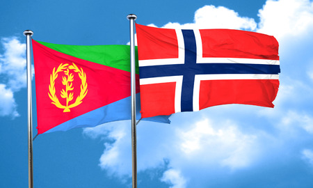norway flag: Eritrea flag with Norway flag, 3D rendering