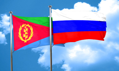 russia flag: Eritrea flag with Russia flag, 3D rendering