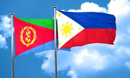 philippino: Eritrea flag with Philippines flag, 3D rendering Stock Photo
