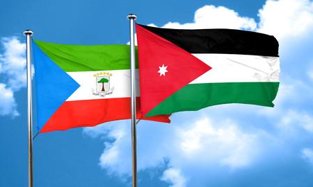 equatorial: Equatorial guinea flag with Jordan flag, 3D rendering Stock Photo