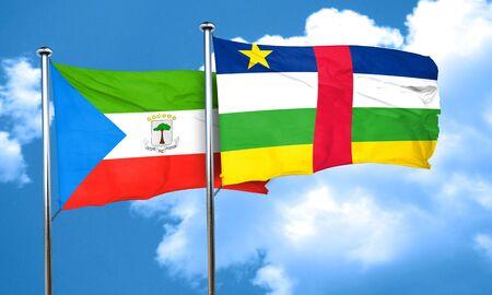 central african republic: Equatorial guinea flag with Central African Republic flag, 3D rendering