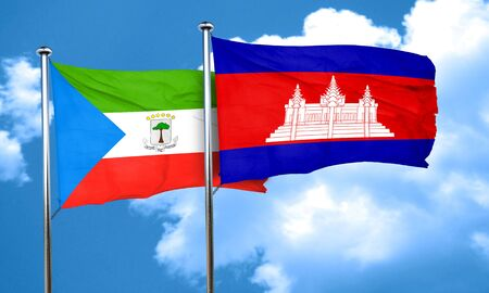 cambodian: Equatorial guinea flag with Cambodia flag, 3D rendering Stock Photo