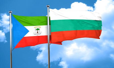 equatorial: Equatorial guinea flag with Bulgaria flag, 3D rendering