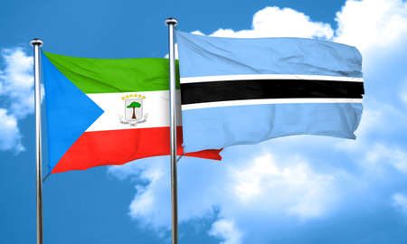 Equatorial guinea flag with Botswana flag, 3D rendering
