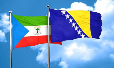equatorial: Equatorial guinea flag with Bosnia and Herzegovina flag, 3D rendering