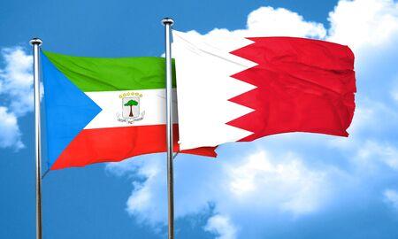 equatorial: Equatorial guinea flag with Bahrain flag, 3D rendering