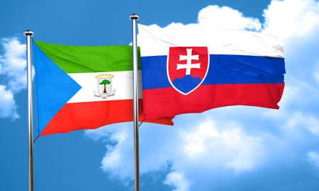 equatorial: Equatorial guinea flag with Slovakia flag, 3D rendering Stock Photo