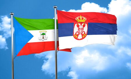 serbia flag: Equatorial guinea flag with Serbia flag, 3D rendering