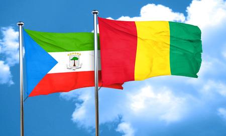 equatorial: Equatorial guinea flag with Guinea flag, 3D rendering